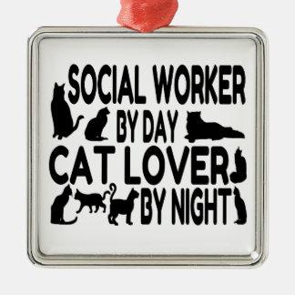 猫好きのソーシャルワーカー メタルオーナメント