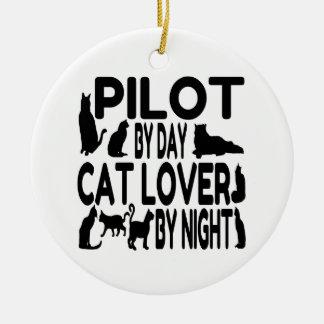 猫好きのパイロット セラミックオーナメント