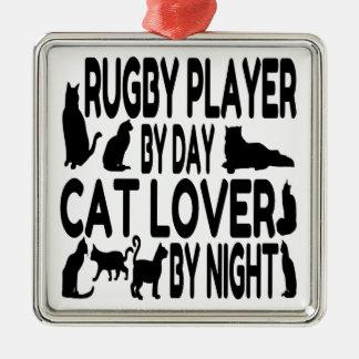 猫好きのラグビープレーヤー メタルオーナメント