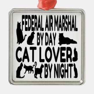 猫好きの中央政府空軍中将 シルバーカラー正方形オーナメント