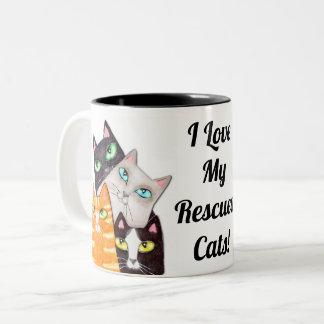 猫好きの子猫のカスタムなコーヒー・マグ ツートーンマグカップ