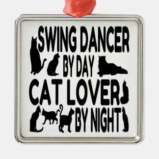 猫好きの振動ダンサー メタルオーナメント