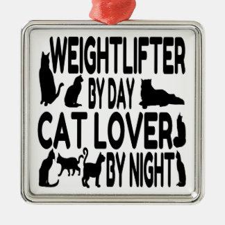 猫好きの重量挙げ選手 メタルオーナメント