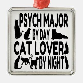 猫好きのPsychの専攻学生 シルバーカラー正方形オーナメント