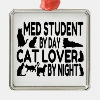 猫好きMed学生 シルバーカラー正方形オーナメント