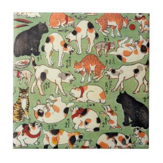 猫尽両めん合、江戸時代、Yoshifuji、Ukiyo-eの芳藤猫 タイル
