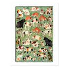 猫尽両めん合、江戸時代、Yoshifuji、Ukiyo-eの芳藤猫 ポストカード