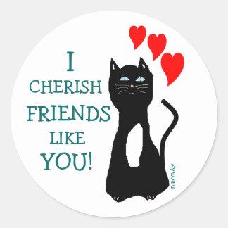 猫愛友人 ラウンドシール