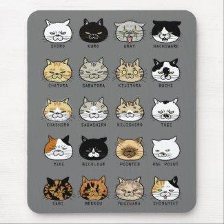 猫柄【ブサ猫】グレー マウスパッド
