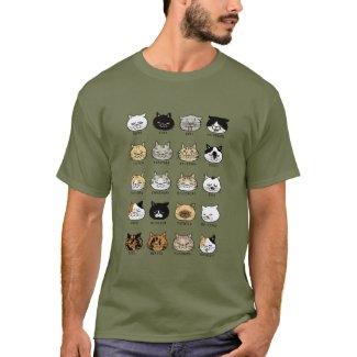猫柄【ブサ猫】ダークカラー Tシャツ