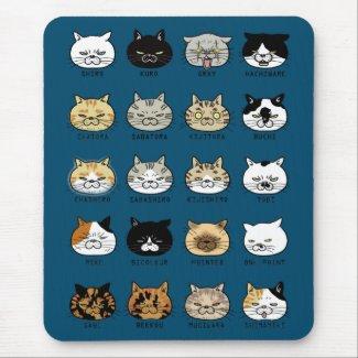 猫柄【ブサ猫】ブルー マウスパッド