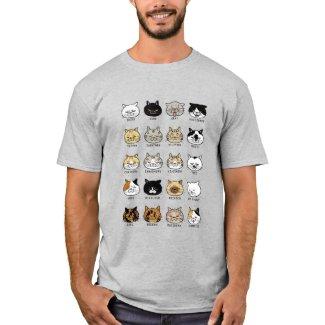猫柄【ブサ猫】ライトカラー 鮮やかプリント Tシャツ