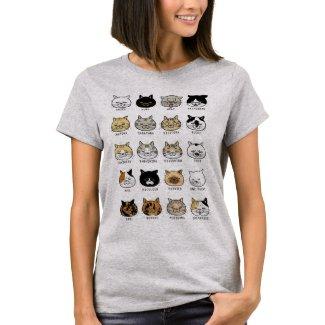 猫柄【ブサ猫】レディース ライトカラー Tシャツ