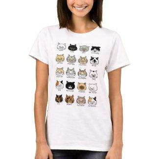 猫柄【ブサ猫】レディース 白 Tシャツ