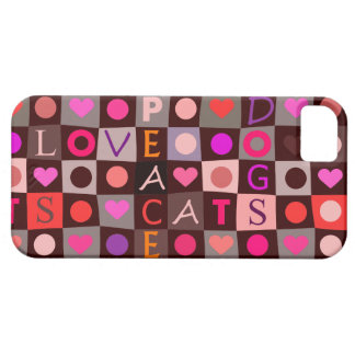 猫犬愛平和チェッカーボード iPhone SE/5/5s ケース