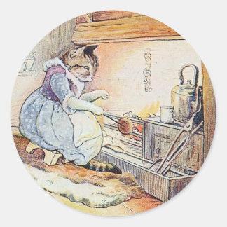 猫猫は火によって坐ります ラウンドシール
