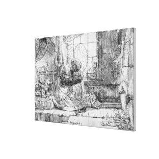 猫1654年を持つ神聖な家族 キャンバスプリント