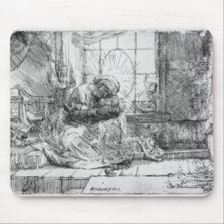 猫1654年を持つ神聖な家族 マウスパッド