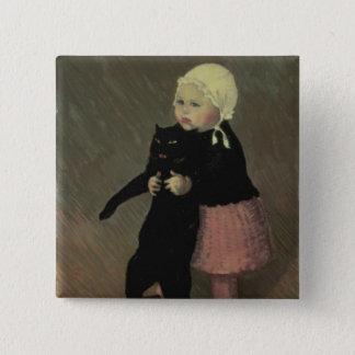 猫1889年を持つ小さい女の子 5.1CM 正方形バッジ