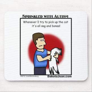 猫-おもしろい--を取ることを試みることについての自閉症の漫画 マウスパッド