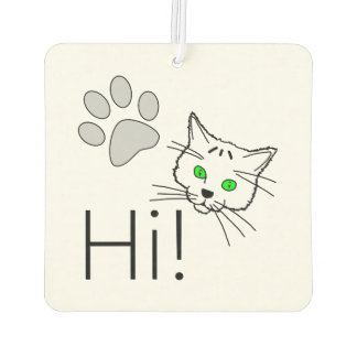 猫-こんにちは! カーエアーフレッシュナー