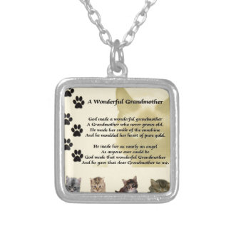 猫-すばらしい祖母の詩 シルバープレートネックレス
