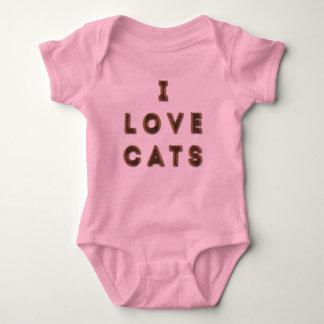 猫」のベビーのジャージーの毛皮で覆われた「私はボディスーツ愛します ベビーボディスーツ