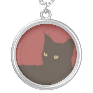 猫 シルバープレートネックレス