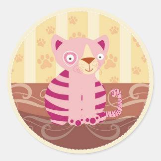 猫|ステッカー 丸形シールステッカー