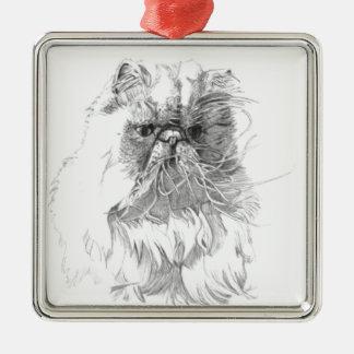 猫、ペンとインクのスケッチ メタルオーナメント