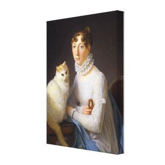 猫、マーガレットGérardを持つ女性 キャンバスプリント