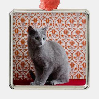 猫(ロシアのな青)および壁紙の背景 メタルオーナメント
