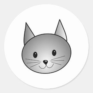猫。 愛らしい灰色の子猫の設計 ラウンドシール