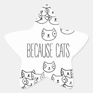 猫-猫の集団ので 星シール
