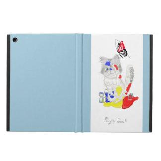 猫|絵の具|水色|蝶|iPad iPad Airケース
