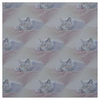 猫、緩む青 ファブリック