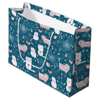猫、鳥及びハートのギフトバッグ(大きい) ラージペーパーバッグ