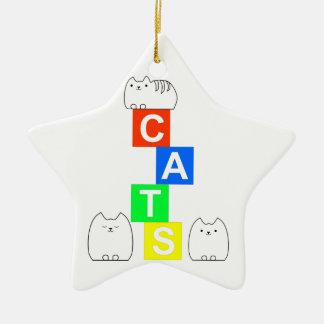 猫、kittysおよびブロック セラミックオーナメント