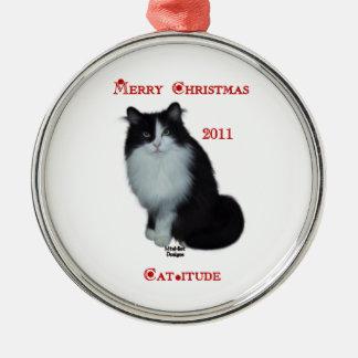猫itudeのクリスマス2011年を持って下さい メタルオーナメント