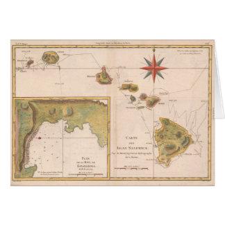 「献立表des島サンドイッチ」の、ヴィンテージのハワイの地図 カード