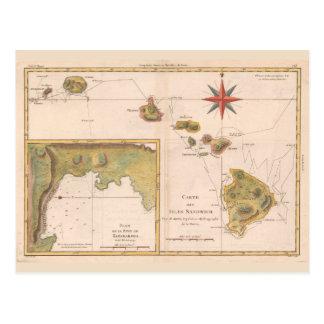 「献立表des島サンドイッチ」の、ヴィンテージのハワイの地図 ポストカード
