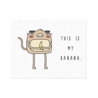 猿およびバナナ キャンバスプリント