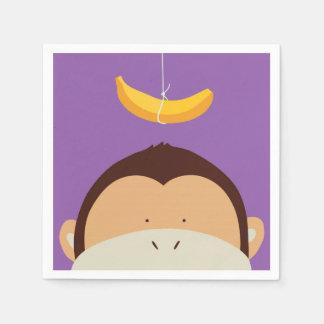 猿およびバナナ スタンダードカクテルナプキン