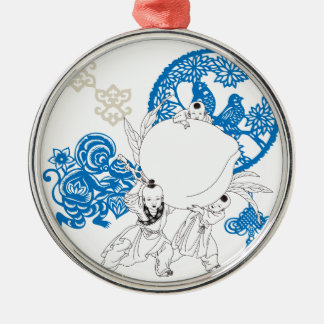 猿および子供が付いているヴィンテージの中国のなパターン メタルオーナメント