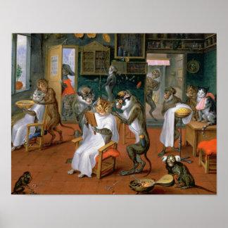 猿および猫が付いている理髪店 ポスター