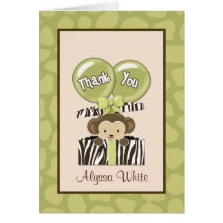 猿のジャングルのベビーシャワーカリフォルニアはメッセージカード感謝していしています カード