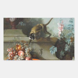 猿のステッカーの年のロココ様式の絵画 長方形シール