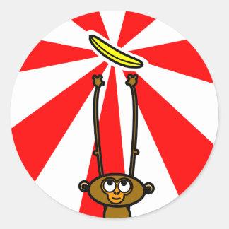 猿のステッカー ラウンドシール