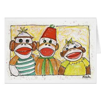 猿のトリオ グリーティングカード