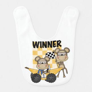 猿のバナナのレーサーの勝者のよだれかけ ベビービブ
